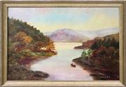 Sale 9024 - Lot 2046 - Artist Unknown  (C19th) Rowing Through Middle Harbour oil on academic board, 44 x 63cm (frame) initialled A.E.E