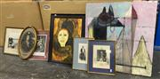 Sale 9033 - Lot 2066 - Seven assorted artworks including a good early engraving, a original portrait and photograph of Greenwich point 1885 and an abstract...