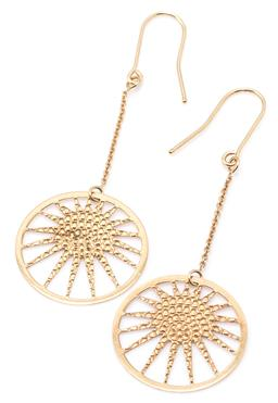 Sale 9149 - Lot 537 - A PAIR OF 9CT GOLD DROP EARRINGS; 21mm wide discs with pierced radiating suns to cable link drops on shepherds hook fittings, length...