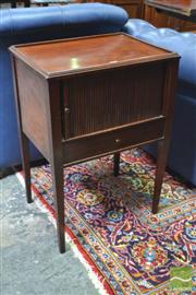Sale 8282 - Lot 1021 - 19th Century Georgian Style Mahogany Bedside Cabinet, with raised edge, tambour shutter, a drawer & square legs