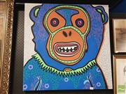 Sale 8441A - Lot 5018 - Jack Vigor (Street Artist, CASPER) - Chimp 76 x 76cm (stretched & ready to hang)