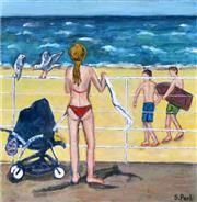 Sale 8382A - Lot 92 - Stanley Perl (1942 - ) - By the Beach 50.5 x 50.5cm