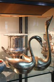 Sale 8379 - Lot 118 - Silver Plated Champagne Bucket with 2 Metal Swans