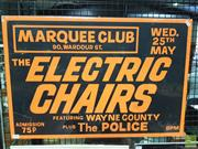 Sale 8421 - Lot 1050 - Rare and Original Marquee Club Promotional Poster featuring The Electric Chairs with The Police as support act (50. 5cm x 75.5...