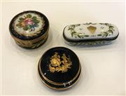 Sale 8436A - Lot 74 - Three Limoges enamel boxes, including two hinged and hand painted examples.