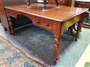 Sale 8576 - Lot 1088 - Late 19th Century Cedar Desk, with knee-hole & two drawers, raised on turned legs