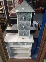 Sale 8563T - Lot 2454 - Rustic White-Washed Meat Safe with a Set of Table-Top Drawers