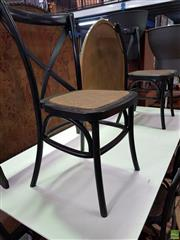 Sale 8589 - Lot 1052 - Set of Six Black Cross Back Dining Chairs with Rattan Seat