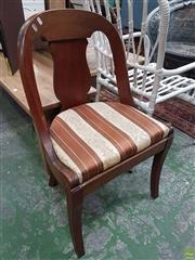 Sale 8598 - Lot 1009 - Pair of French Empire Style Mahogany Chairs,  with spoon shaped back & striped upholstery, on sabre legs
