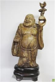 Sale 8603 - Lot 30 - Large Carved Soap Stone Figure of Hotei ( H 68cm x W 40cm, Weight Approx 76kgs