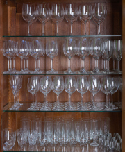 Sale 8677B - Lot 651 - Four shelf lots of stemware, red wine, white wine and champagne flutes.
