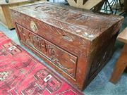 Sale 8669 - Lot 1018 - Carved Oriental Camphorwood Lift Top Trunk