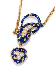 Sale 8937 - Lot 414 - A PEARL AND ENAMEL SERPENT LOCKET NECKLACE; silver gilt serpent in royal blue enamel with cabochon garnet eyes suspending a heart sh...