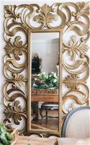 Sale 8972H - Lot 1 - A Large gilded mirror, can be hung vertically or horizontal, 221cm x 116cm x 7cm