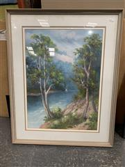 Sale 9008 - Lot 2064 - Artist Unknown, Early Australian Bush Scene with Sailboat on a River, oil painting , frame: 79 x 72.5 cm. initialled  R.w lower ri...
