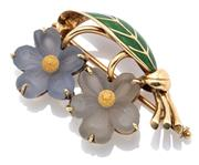 Sale 9046 - Lot 501 - AN ENAMELLED 14CT GOLD FLORAL BROOCH; featuring two carved paste flowers and green enamelled leaf, makers stamp RM?, size 36 x 24mm,...