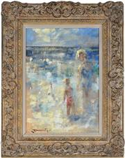 Sale 9047A - Lot 5098 - Paul Beauvais (1966 - ) - Mother and Child by the seaside 33.5 x 23.5 cm (frame: 50 x 40 x 5 cm)