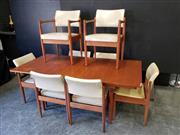 Sale 9056 - Lot 1063 - Chiswell 9 Piece Dining Suite inc Extension Table and 8 Leather Upholstered Chairs (h:73 x w:138 x d:89cm)