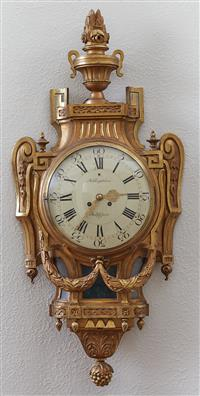 Sale 9080H - Lot 14 - An impressive  C19th Gustavsberg style giltwood Cartel clock by Rob Engstrom, Stockholm.Total Height 102cm, width of dial 29cm with...