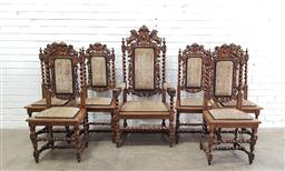 Sale 9126 - Lot 1033 - Set of Seven Victorian Jacobean Style Oak Dining Chairs, incl. an armchair, with barley-twist supports & surmounted by lions support...