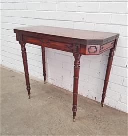 Sale 9126 - Lot 1156 - George III Mahogany Card Table, with cantered corners & green baize interior, with geometric motif frieze & ring turned legs (h73 x...