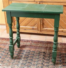 Sale 9120H - Lot 176 - A green painted rustic timber hall table with turned legs, Height 75.5cm x Width 76cm x Depth 40cm