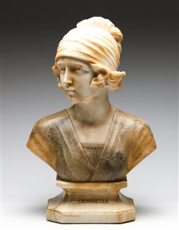Sale 9255S - Lot 38 - A Large alabaster bust of A lady on base Height 60cm