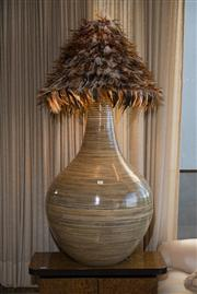 Sale 7984 - Lot 68 - A large baluster form vase manufactured from bamboo with a duck feather shade, height 136cm