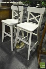 Sale 8227 - Lot 1082 - Pair of Small White Stools