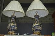 Sale 8331 - Lot 1578 - Pair of Blue Ceramic Table Lamps (4238v)