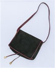 Sale 8891F - Lot 88 - A Loewe forest green suede and reddish-brown leather fold-over messenger shoulder bag, H 27 x W 30cm