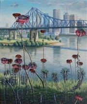 Sale 8916 - Lot 601 - Henry Francis Bartlett (1916 - 2014) - Brisbane City from Wilsons Lookout 75 x 64 cm