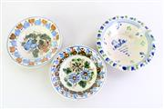 Sale 8972M - Lot 629 - A Set Of Three Majolica Dishes Largest Dia 21cm (Some wear to one dish)