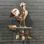 Sale 8975K - Lot 30 - Copper Rooster-Form Weather Vane with Roof Mount - 146cm