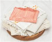 Sale 9058H - Lot 65 - A small quantity of table runners including a beautiful pink & cream runner with tassels
