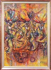Sale 8068A - Lot 64 - K. Pfund - Native Dancers, 1968 120 x 80cm