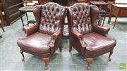 Sale 8375 - Lot 1038 - Pair of Moran Chesterfield Style Wing-Back Armchairs