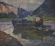 Sale 8510 - Lot 586 - Ludwig Nunberg (XX) - Barge on the River, c1920s - 1930s 49 x 59cm