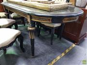 Sale 8611 - Lot 1080 - Brass Inlaid Ebonised Table with Brass Fittings