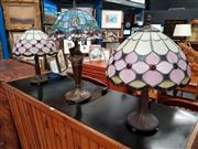 Sale 8676 - Lot 1054 - Collection of 3 Leadlight Shade Table Lamps incl. a Pair