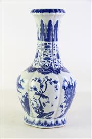 Sale 8935D - Lot 672 - Blue and White Chinese vase with floral motif (H34.5cm)
