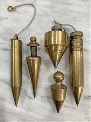 Sale 8951P - Lot 364 - Collection of 5 Various Brass Plumb Bobs (various sizes)