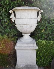 Sale 8972H - Lot 79 - An old monumental GRC urn on plinth, Height 1.75m x Width 90cm