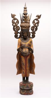 Sale 9020H - Lot 10 - Antique Burmese carved timber deity in the standing position with yellow pigment flared robe over a lotus form base, height 98cm