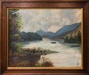 Sale 9024 - Lot 2008 - E.J (C19th) Morning Rowers on the River and Distant Mountain Views oil on canvas (AF), 44. x 59cm (frame: 73 x 59cm), initialled