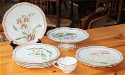 Sale 9120H - Lot 178 - A Victorian English floral patterned dessert set comprising eight dishes and one comport, Diameter 23.5cm, mark to base
