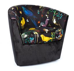 Sale 9140W - Lot 8 - A custom built tub armchair upholstered in Christian Lacroix - Birds Sinfonia silk fabric, seat with black velvet base and rear. H...