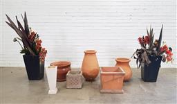 Sale 9151 - Lot 1472 - Collection of planters incl. 2 with faux plants (Various sizes)
