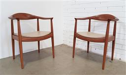 Sale 9171 - Lot 1062 - Pair of Oak dining chairs (h:76 x w:64cm)
