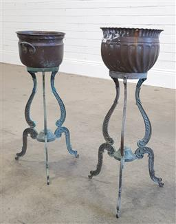 Sale 9174 - Lot 1427 - Pair of brass plant  stands with tri-leg (h64 x d22cm)